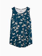 Plus Size Super Soft Teal Floral Crew Tank, MACAW TEAL, hi-res