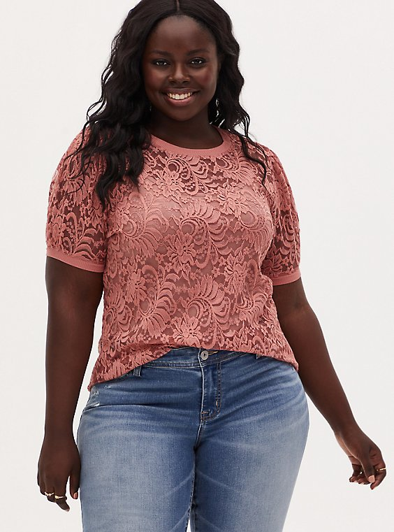 Dusty Coral Sheer Lace Puff Sleeve Tee, , hi-res