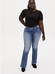 Plus Size Black Sheer Lace Puff Sleeve Tee, DEEP BLACK, alternate