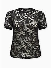 Black Sheer Lace Puff Sleeve Tee, DEEP BLACK, hi-res