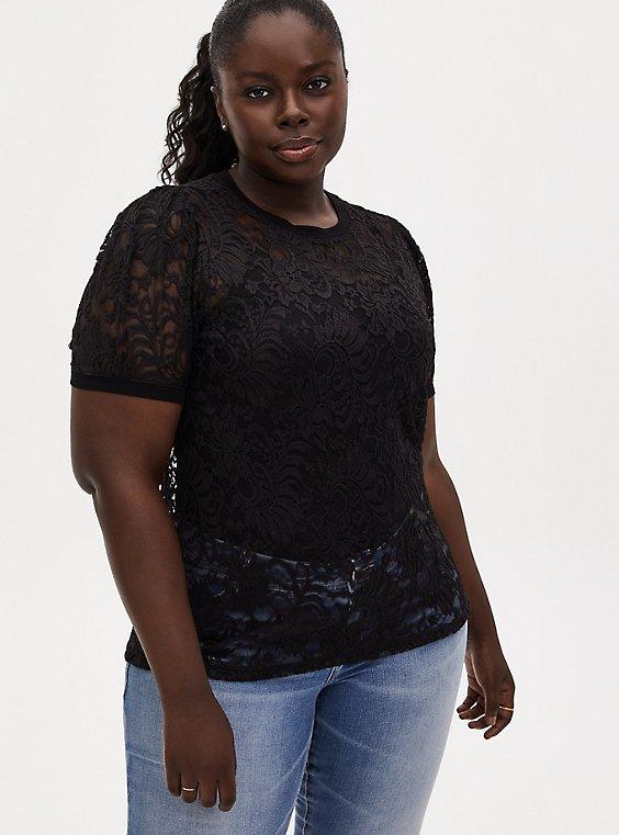 Plus Size Black Sheer Lace Puff Sleeve Tee, DEEP BLACK, hi-res