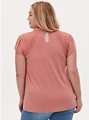Dusty Coral Crepe Lace Inset Cap Sleeve Top, DESERT SAND, alternate