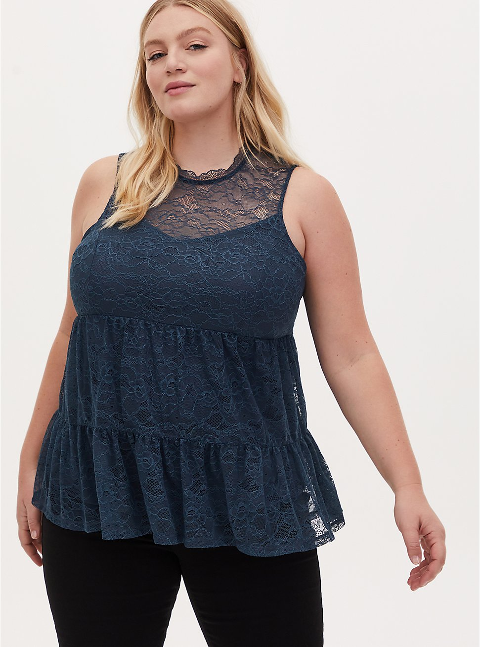 Navy Lace Mock Neck Shirred Hem Sleeveless Top, MIDNIGHT NAVY, hi-res
