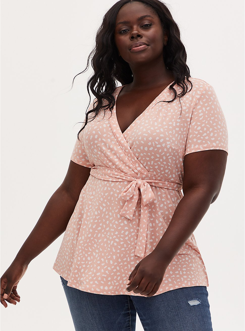 Plus Size Peach Dots Crepe Wrap Top, PEACH BEIGE, hi-res
