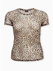 Leopard Sheer Mesh Crew Tee, , hi-res