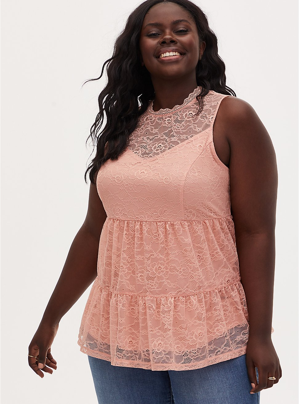 Peach Lace Mock Neck Shirred Hem Sleeveless Top, PEACH BEIGE, hi-res