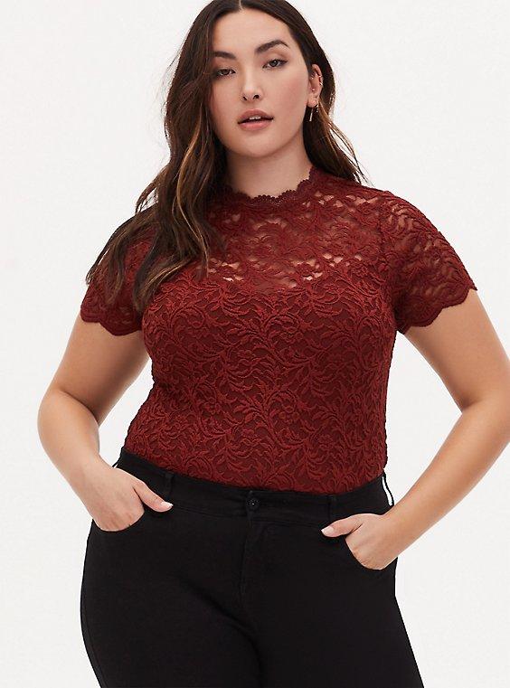 Plus Size Brick Red Lace High Neck Short Sleeve Bodysuit, , hi-res