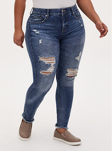 Bombshell Straight Jean - Premium Stretch Medium Wash with Frayed Hem, MELROSE, hi-res