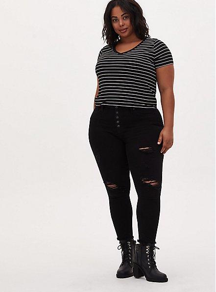 Sky High Skinny Jean - Premium Stretch Black with Destruction, BLACK, alternate
