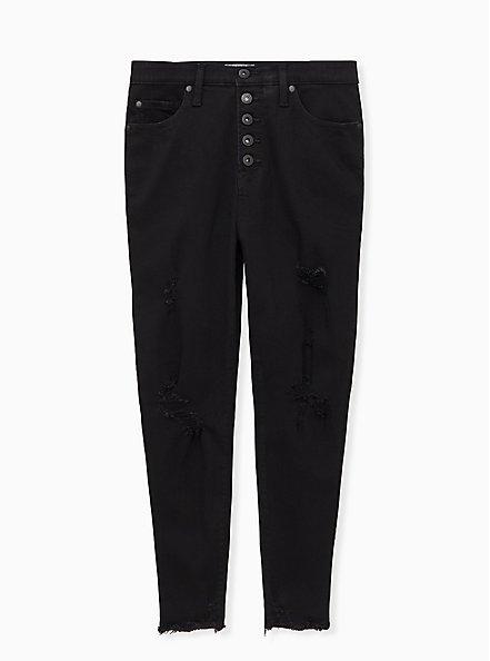 Sky High Skinny Jean - Premium Stretch Black with Destruction, BLACK, hi-res