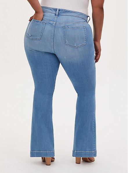 Mid Rise Flare Jean - Premium Stretch Light Wash , BEVERLY HILLS, alternate