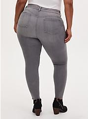Plus Size Bombshell Skinny Jean - Super Soft Grey Wash with Distressed Hem, SMOKE AND MIRRORS, alternate