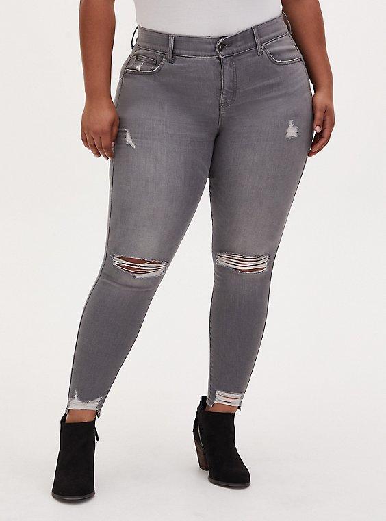 Bombshell Skinny Jean - Super Soft Grey Wash with Distressed Hem, , hi-res