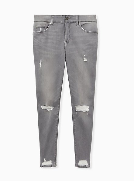 Plus Size Bombshell Skinny Jean - Super Soft Grey Wash with Distressed Hem, SMOKE AND MIRRORS, hi-res