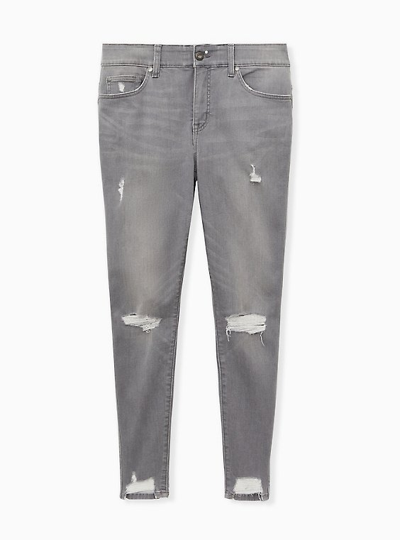 Bombshell Skinny Jean - Super Soft Grey Wash with Distressed Hem, SMOKE AND MIRRORS, ls