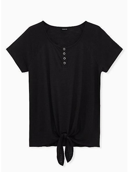 Black  Slub Jersey Tie Front Henley Tee, DEEP BLACK, hi-res