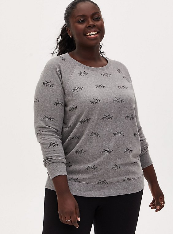 Plus Size Hiding Cat Heather Grey Terry Crew Neck Sweatshirt, HEATHER GREY, hi-res
