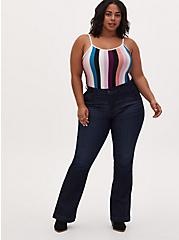 Plus Size Mid Rise Flare Jean - Vintage Stretch Eco Dark Wash , LOST IN SPACE, alternate