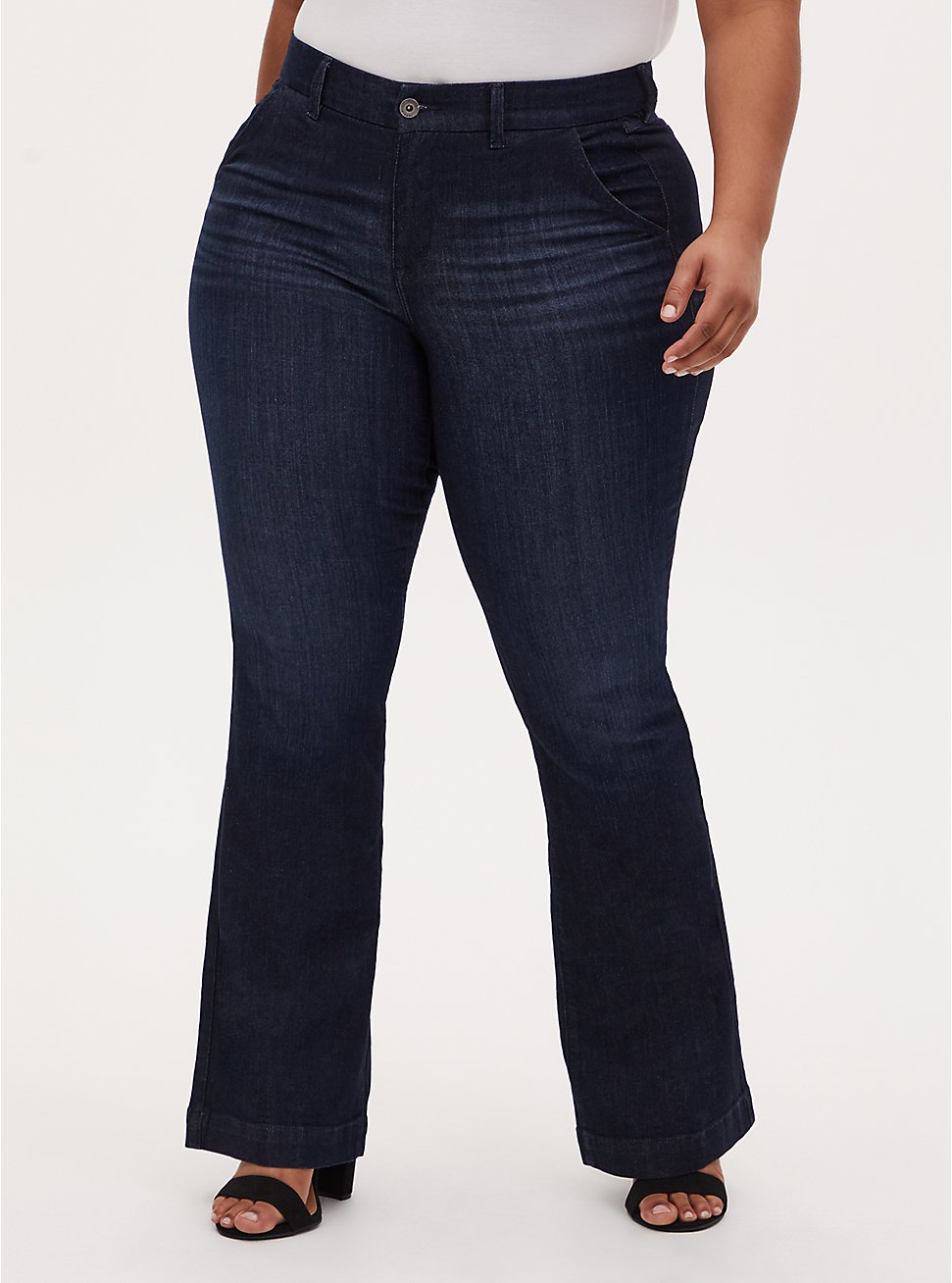 Plus Size Mid Rise Flare Jean - Vintage Stretch Eco Dark Wash , LOST IN SPACE, hi-res