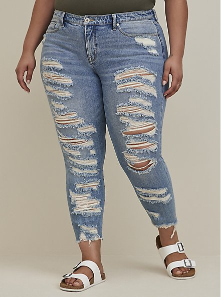 High Rise Straight Jean - Medium Wash With Distressed Hem, SHOT TO HELL, hi-res