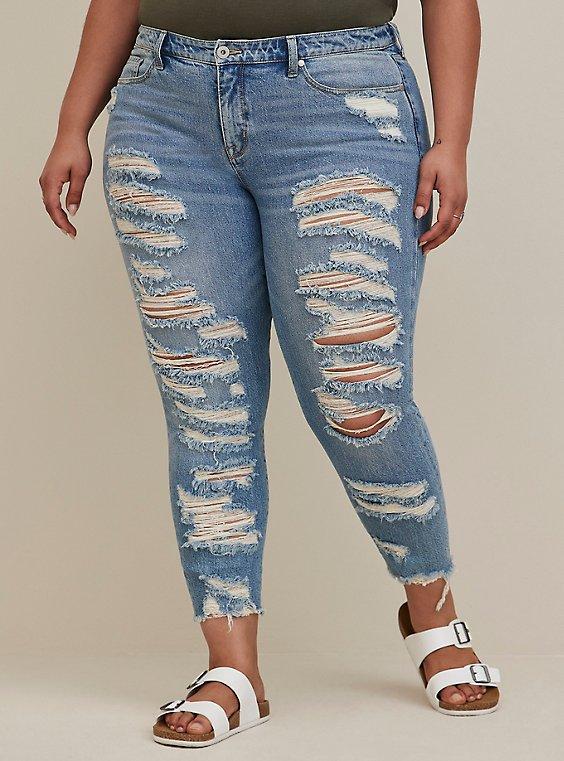 High Rise Straight Jean - Medium Wash With Distressed Hem, , hi-res