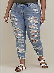 Plus Size High Rise Straight Jean - Medium Wash With Distressed Hem, SHOT TO HELL, hi-res