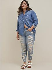 Plus Size High Rise Straight Jean - Medium Wash With Distressed Hem, , fitModel1-alternate