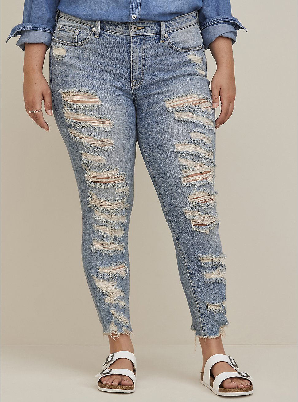 Plus Size High Rise Straight Jean - Medium Wash With Distressed Hem, , fitModel1-hires