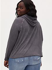 Plus Size Dark Slate Grey Terry Hoodie, NINE IRON, alternate