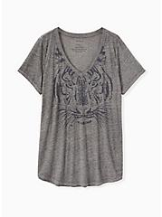 Tiger Stare Classic Fit V-Neck Tee - Vintage Burnout Grey , MEDIUM HEATHER GREY, hi-res