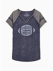 Cheers & Beers Football Tee - Vintage Burnout Navy, PEACOAT, hi-res