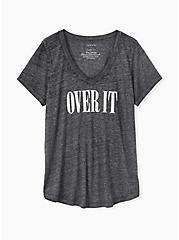 Over It Classic Fit V-Neck Tee - Vintage Burnout Dark Grey , DEEP BLACK, hi-res