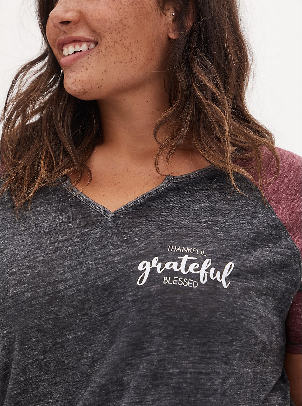 Plus Size Blessed Classic Fit Football Tee - Triblend Dark Grey, DEEP BLACK, hi-res