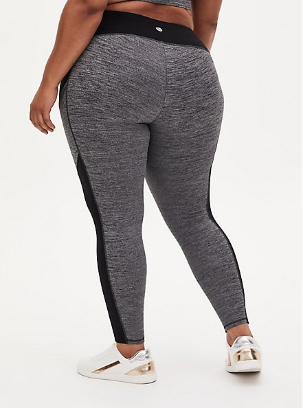Black & Grey Space-Dye Crop Wicking Active Legging with Pockets, SPACE DYE, alternate