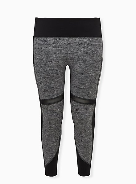 Black & Grey Space-Dye Crop Wicking Active Legging with Pockets, SPACE DYE, hi-res