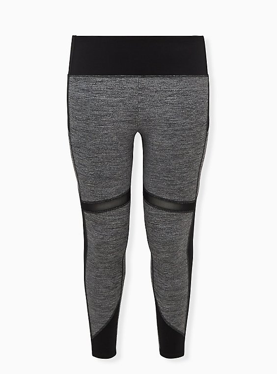 Plus Size Black & Grey Space-Dye Crop Wicking Active Legging with Pockets, , flat