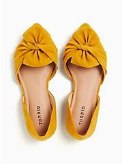 Mustard Yellow Faux Suede Twist Bow D'Orsay Flat (WW), YELLOW, alternate