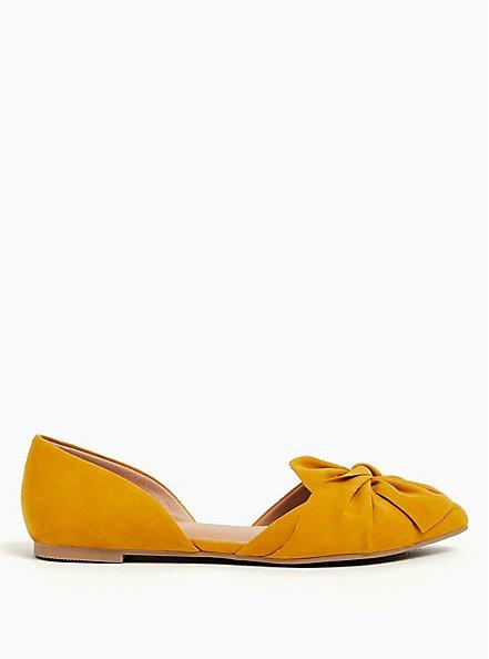 Mustard Yellow Faux Suede Twist Bow D'Orsay Flat (WW), YELLOW, alternate