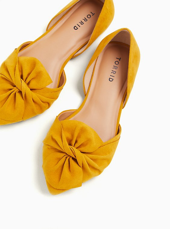 Mustard Yellow Faux Suede Twist Bow D'Orsay Flat (WW), YELLOW, hi-res