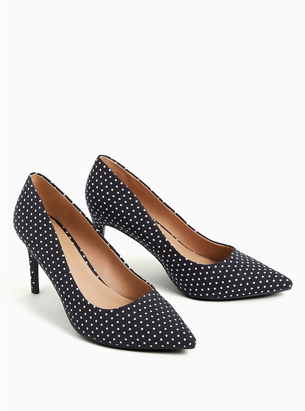 Black Polka Dot  Pointed Toe Pump (WW), BLACK, hi-res