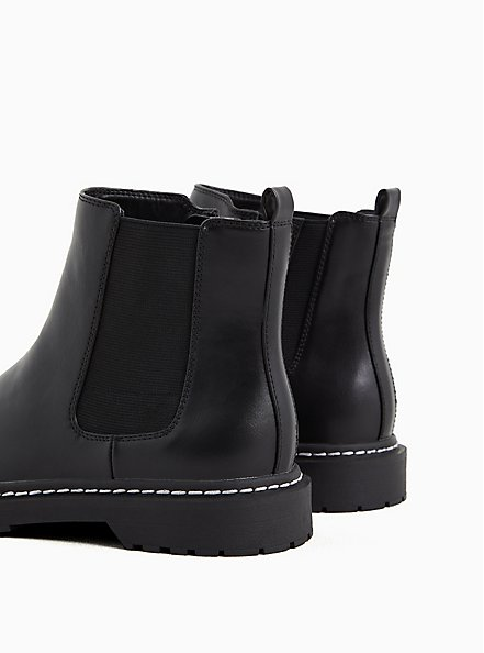 Black Faux Leather Chelsea Bootie (WW), BLACK, alternate