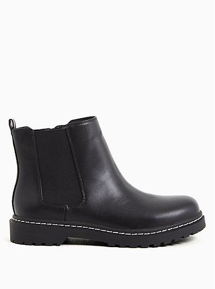 Black Faux Leather Chelsea Bootie (WW), BLACK, hi-res