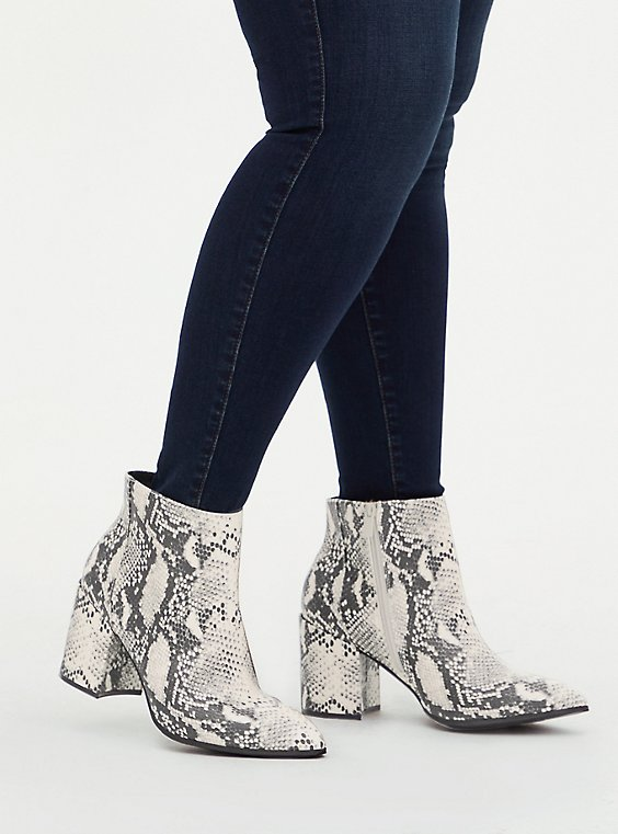 Snakeskin Print Faux Leather Block Heel Bootie (WW), ANIMAL, hi-res