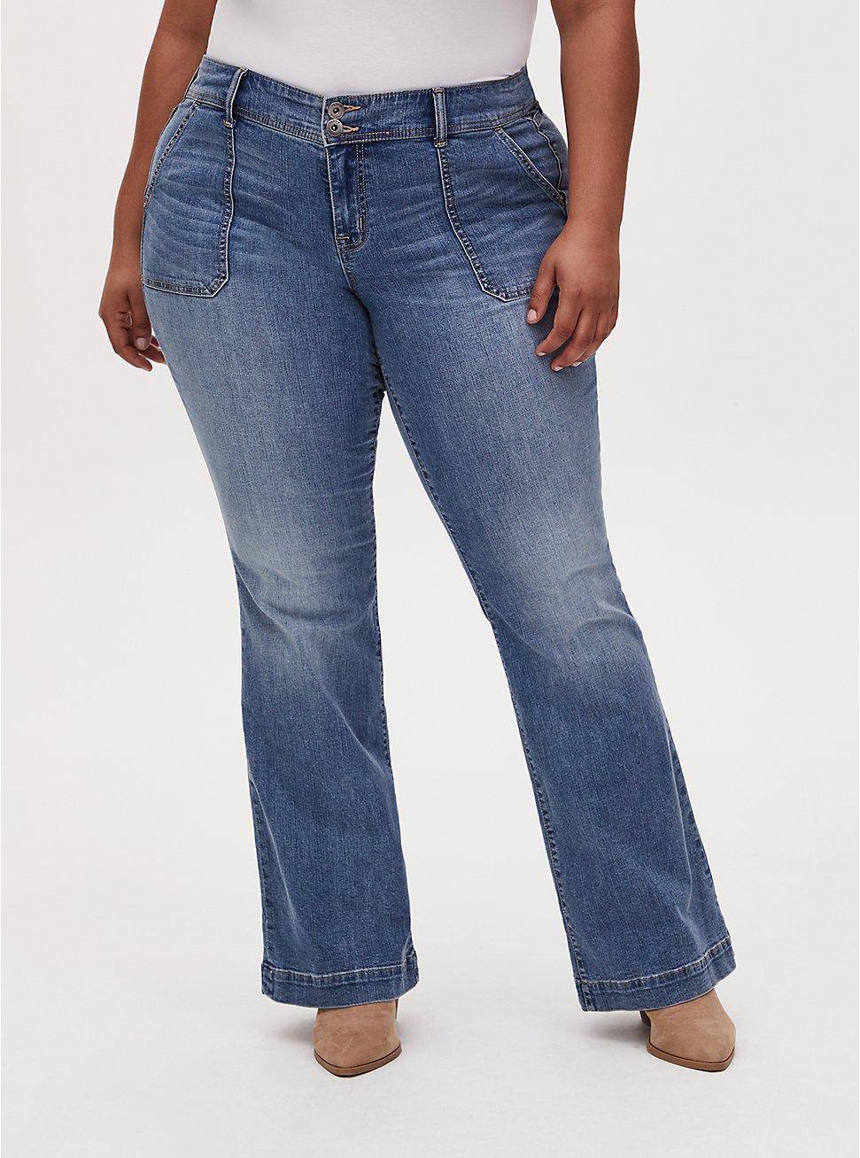 Mid Rise Flare Jean - Vintage Stretch Medium Wash , KIKI, hi-res