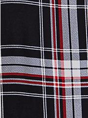 Black Plaid Challis Duster Shirt Kimono, PLAID - BLACK, alternate