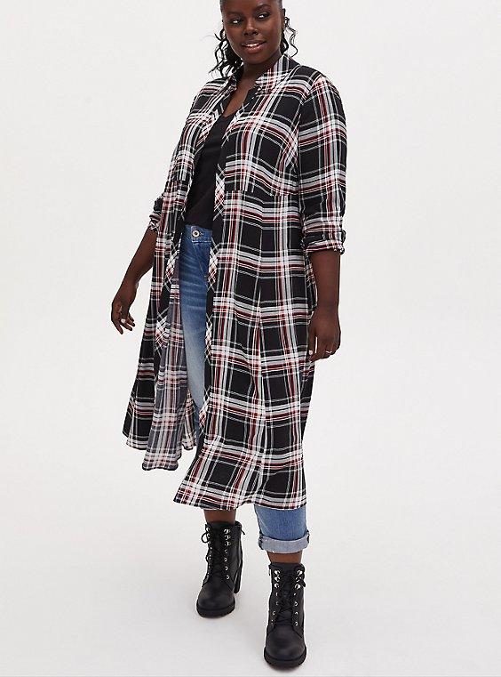 Black Plaid Challis Duster Shirt Kimono, PLAID - BLACK, hi-res