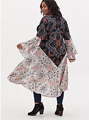 Mixed Floral Gauze Hi-Lo Longline Kimono, BOHO MEDALLION, alternate