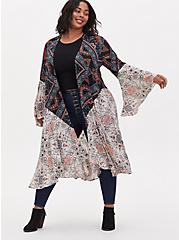 Mixed Floral Gauze Hi-Lo Longline Kimono, BOHO MEDALLION, hi-res