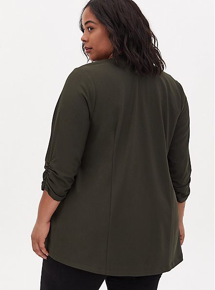 Forest Green Crepe Open Front Jacket, ROSIN, alternate