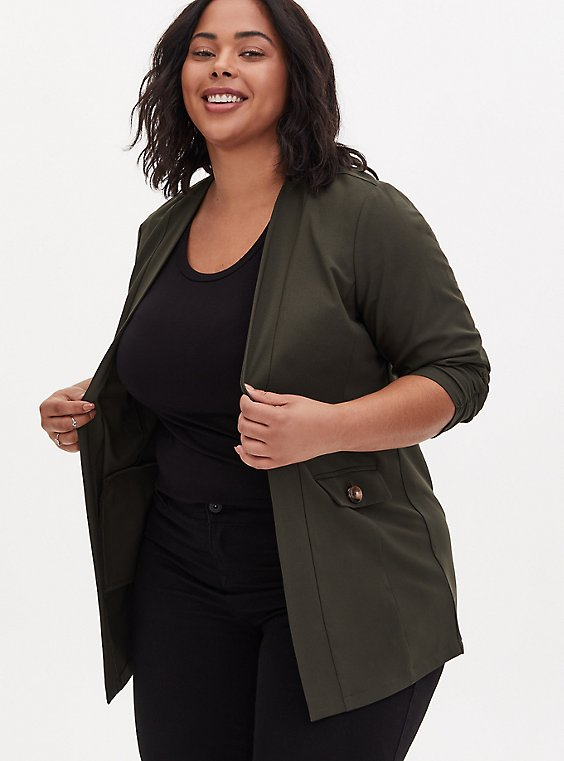 Forest Green Crepe Open Front Jacket, , hi-res
